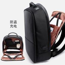 博牌 隐形防盗双肩包男士USB充电背包商务大容量15寸电脑包旅行包751-004502
