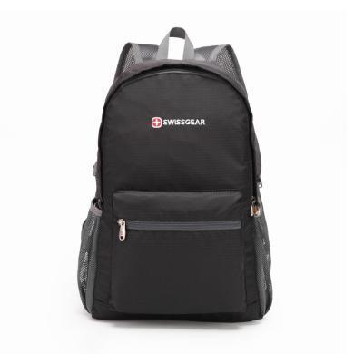 SWISSGEAR折疊包便攜皮膚包 男女款休閑運動雙肩背包旅游包  SA-8808黑色