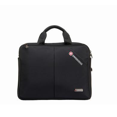 瑞士军刀(SWISSGEAR)手提包男 横款手提单肩斜挎多用笔记本电脑包公文包iPad包14.6英寸 SA-1108黑色
