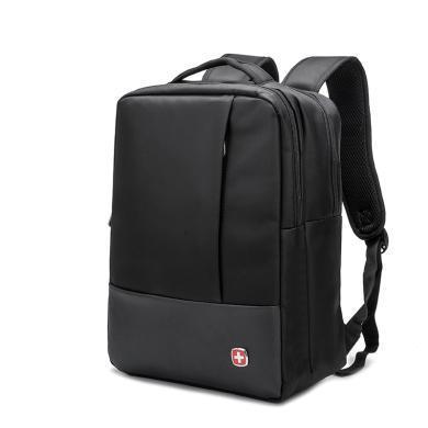 瑞士軍刀(SWISSGEAR)青年時尚背包男商務上班雙肩包 筆記本電腦包SA-0656黑色