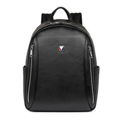 丹爵(DANJUE)真皮双肩包撞色配饰牛皮休闲包旅行包电脑包男士潮包D8120