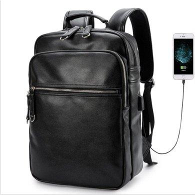 薩蒙斯 新款時尚潮流男士旅行大容量雙肩包外置USB休閑背包 18760