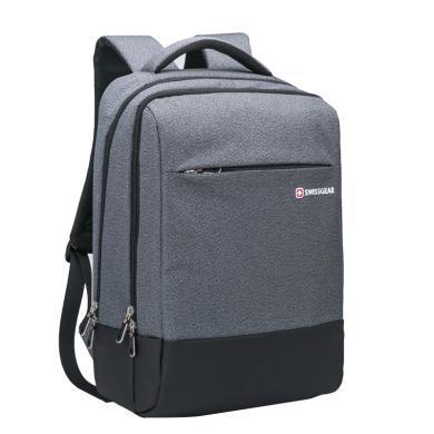 瑞士軍刀(SWISSGEAR) 韓版時尚電腦包男USB青年雙肩背包輕便上班休閑包SA-008 灰色