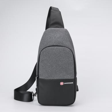瑞士軍刀(SWISSGEAR) 單肩包 戶外休閑單肩包手機包旅行登山斜挎包 SA-1029 黑色