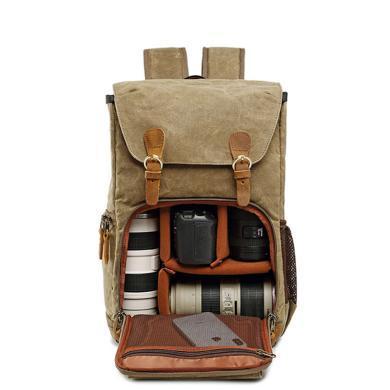 萨蒙斯 防水帆布男女双肩背包摄影包内胆单反数码双肩相机包161279
