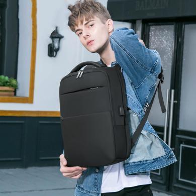 美洲野牛雙肩包男商務背包電腦包大容量旅行背包男韓版雙肩包休閑學生書包男N2752-1