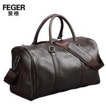 斐格牛皮手提包横款商务包出差旅行包大容量斜挎包8031
