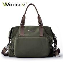 狼域新款简约尼龙行李包短途出差大容量旅行包单肩手提