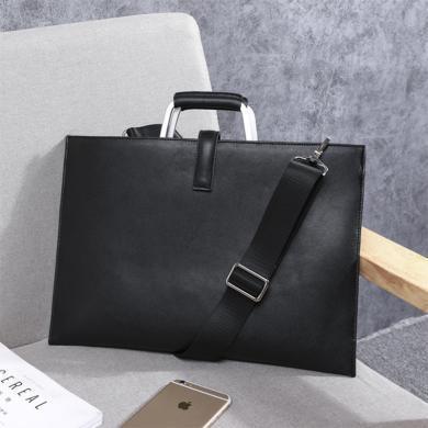新款男士超薄商务手提包真皮公文包单肩斜挎包W6102