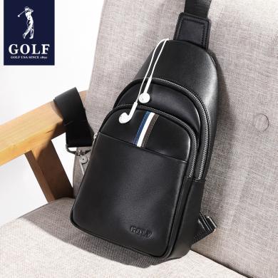 GOLF/高尔夫牛皮胸包男斜挎包休闲单肩包男士包包青年韩版潮流男包小 D8GF51833T