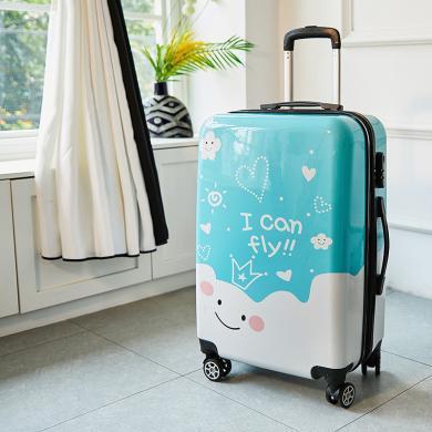 搭歌 卡通圖案箱子萬向輪拉桿箱登機旅行箱男女行李箱 卡通黑色邊框