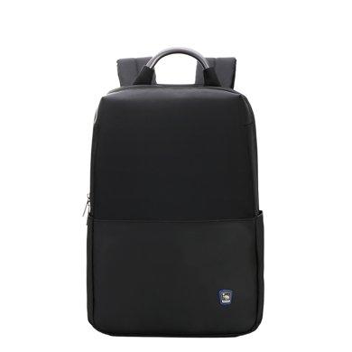 愛華仕電腦包雙肩男士14寸金屬提手商務出差背包女旅行包軟黑色