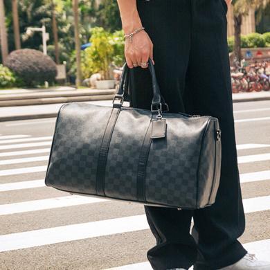 GSQ古思奇 旅行包女士男士網紅超大容量潮短途出差旅游韓版老花黑格子手提包L2089