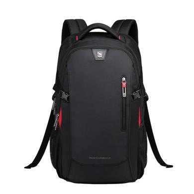 爱华仕时尚双肩包 商务笔记本电脑包14英寸防泼水双肩背包?#20449;?#20070;包