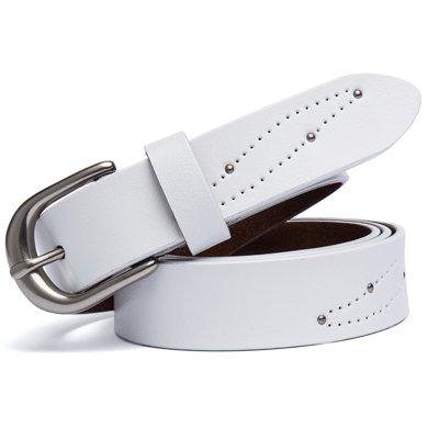 海謎璃  新款休閑二層牛皮女士皮帶 時尚針扣腰帶 鏤空鉚釘圖案腰鏈 H61