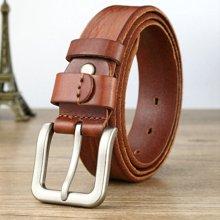 袋鼠 新款时尚复古针扣腰带牛皮裤带男士潮流皮带