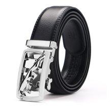 袋鼠  新款商务休闲自动扣男士皮带镂空捷豹扣头腰带裤带