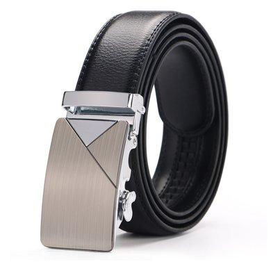 袋鼠  新款時尚幾何圖案扣頭男士皮帶商務休閑自動扣腰帶褲帶