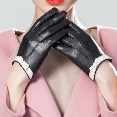 JX羊皮手套時尚百搭女款蝴蝶結冬季保暖加絨手套可觸屏短款皮手套JM20