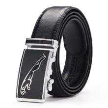 袋鼠 新款捷豹图案自动扣头层皮带商务休闲男士皮带男式皮带