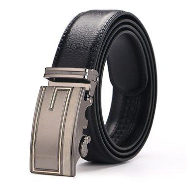 袋鼠 新款G字母圖案自動扣頭層皮帶商務休閑男士皮帶男式皮帶
