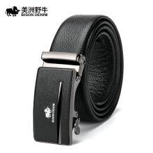 美洲野牛皮带男士自动扣皮合金扣头休闲时尚商务裤腰带N71327