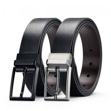 男士双面可用牛皮休闲时尚腰带旋转扣男士皮带针扣皮带PD324