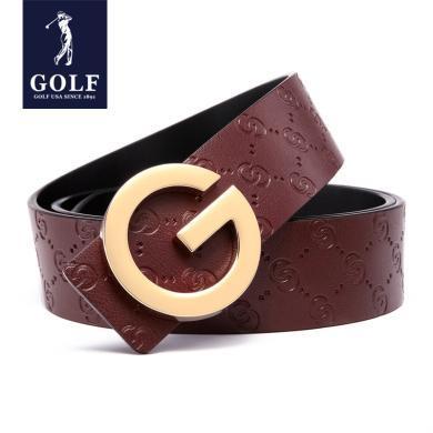 GOLF/高尔夫男士牛皮休闲皮带礼盒个性G型合金扣板扣男士腰带 P925974