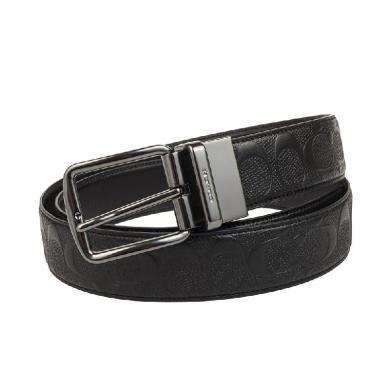 【支持購物卡】Coach F55157-BLK 男士皮帶 黑色壓紋LOGO
