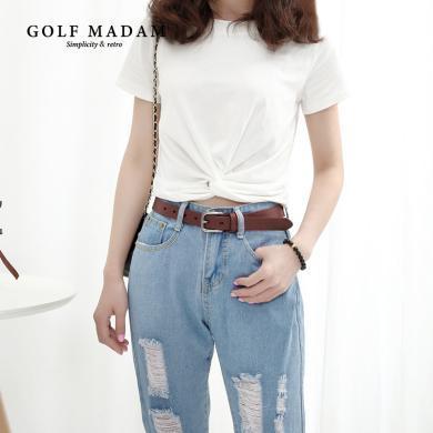 GOLF皮帶女牛仔褲復古簡約百搭真皮牛皮針扣韓版潮流時尚腰帶女 E917980