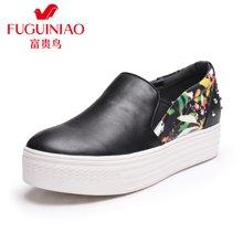 富貴鳥圓頭套腳女休閑鞋鉚釘裝飾印花板鞋松糕鞋 R67Y609C
