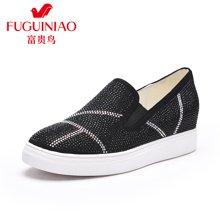 富貴鳥(FUGUINIAO) 時尚水鉆簡單女士休閑單鞋圓頭內增高套腳鞋 F69M520K