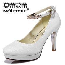莫蕾蔻蕾2019秋新款纯色防水台粗跟高跟一字扣女单鞋 6x305