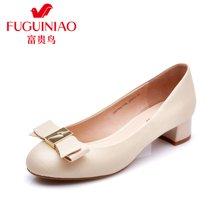 富貴鳥女單鞋 頭層羊皮套腳女鞋 蝴蝶結裝飾女士淺口鞋 壓紋圓頭女鞋 H67Y670K