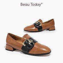 BeauToday新款单鞋女休闲乐福鞋春秋季平底粗跟黑色英伦15701