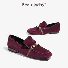 BeauToday新款珍珠樂福鞋淺口單鞋金屬扣英倫風低幫平底24009