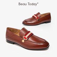 BeauToday女鞋春秋单鞋复古休闲乐福鞋平底小皮鞋英伦风粗跟27070
