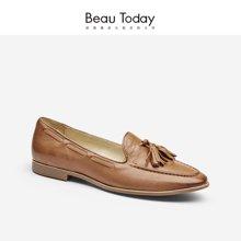 BeauToday新款乐福鞋女流苏单鞋平底复古英伦风女鞋福乐鞋27041