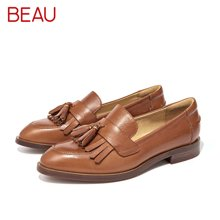 BEAU乐福鞋女流苏女鞋平底鞋方头单鞋牛津鞋复古小皮鞋27081
