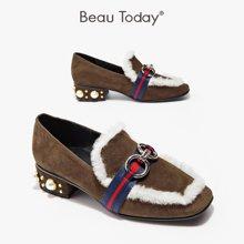 BeauToday新款珍珠乐福鞋单鞋女秋方头浅口单鞋女粗跟英伦风15707
