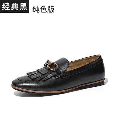 BeauToday 新款平底豆豆鞋流苏单鞋秋季乐福鞋复古小皮鞋英伦风女鞋27063