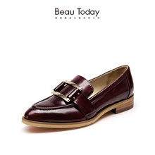 BeauToday新款乐福鞋平底开边珠单鞋女平跟英伦风女鞋金属扣皮鞋27050