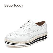 BeauToday新款单鞋女平底小白鞋英伦风休闲春秋季复古布洛克A21060