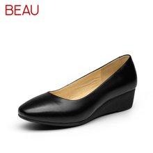 BEAU工作鞋女黑色坡跟圆头单鞋女软底皮鞋职业厚底浅口单鞋15023