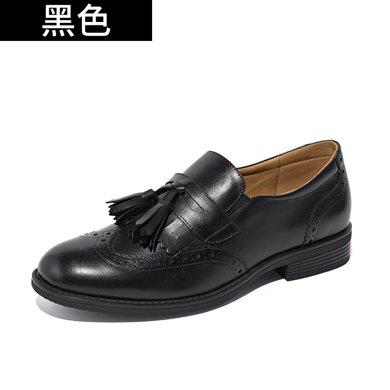 BEAU 乐福鞋女布洛克女鞋平底鞋流苏单鞋牛津鞋复古小皮鞋 27077