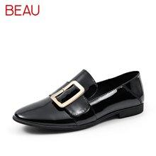 BEAU 新款英伦女鞋浅口方扣单鞋女平底乐福鞋女小皮鞋27036