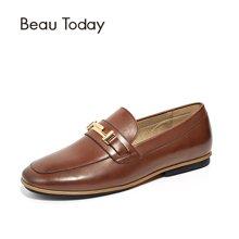 BeauToday女鞋豆豆鞋女平底单鞋休闲英伦风秋季布洛克金属扣27065