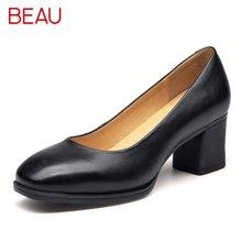 BEAU新款工作鞋女黑色粗跟淺口單鞋職業高跟正裝軟底皮鞋女大碼15024