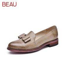 BEAU 新款文艺复古女鞋平跟乐福鞋女透气蝴蝶结英伦风单鞋27046
