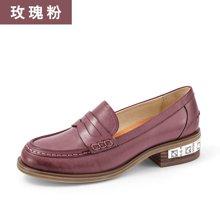 BeauToday新款乐福鞋女厚底英伦风小皮鞋复古女鞋浅口低跟单鞋27038